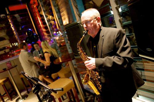 Saxophonist Martin Little in the new outdoor gaming terrace